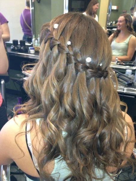 Grad Hair Waterfall Braid Curls Jewels Me Pinterest Waterfall Braid Curls Waterfalls And Braids And Curls