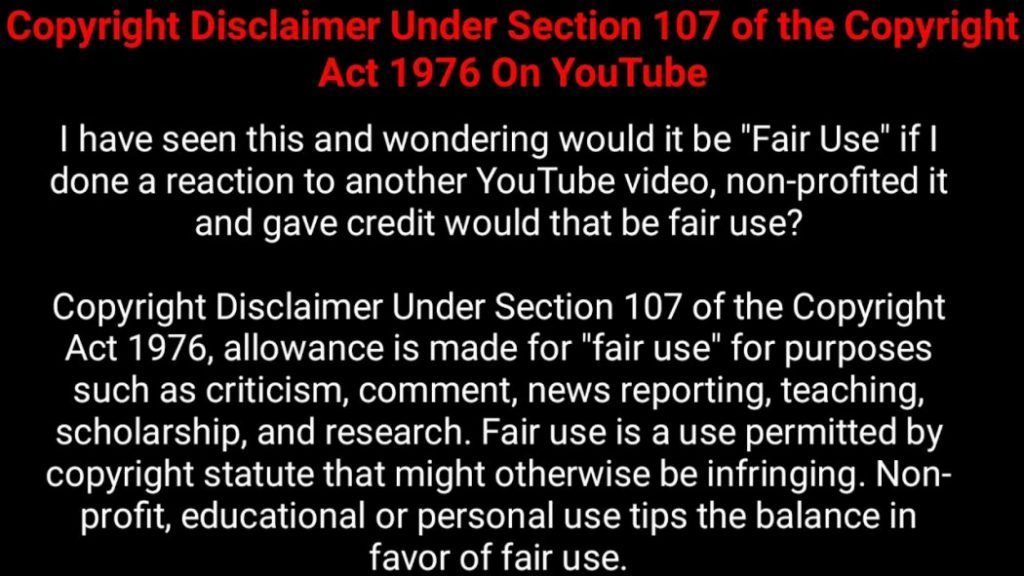 Copyright Disclaimer Youtube Videos Youtube I Fair Use