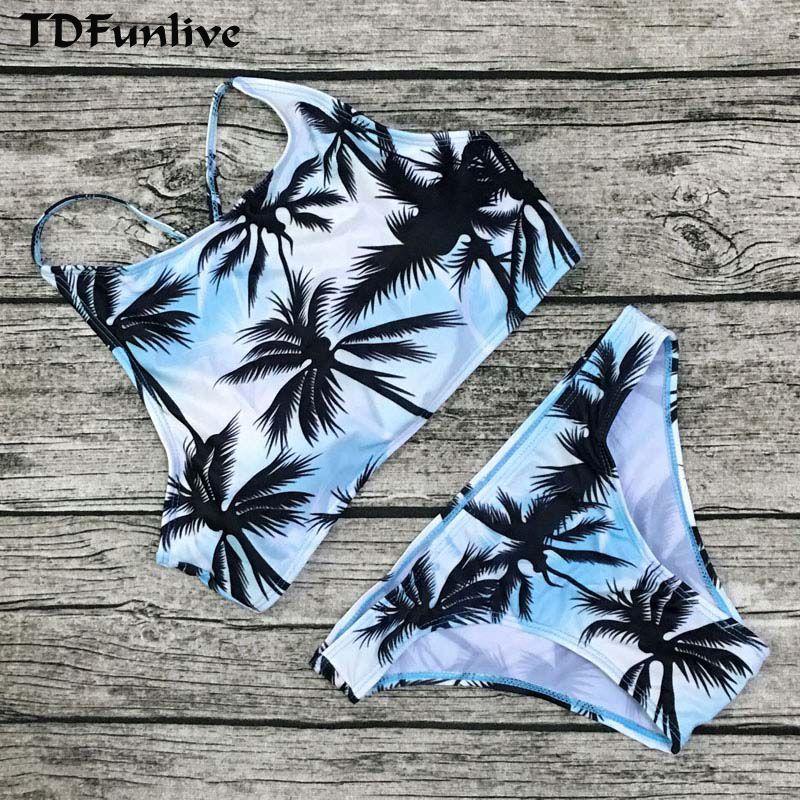8cbabdce3c1 Print Floral Palm Tree Bikini Set Halter crop top hang High neck Bikinis set  push up Swimwear Women Swimsuit beach bathing suit Price: 15.98 & FREE  Shipping ...