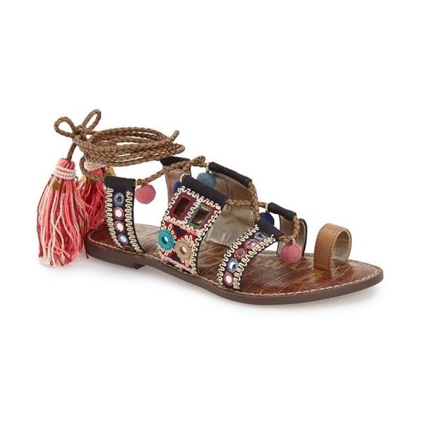 acdb3a11d49c Sam Edelman  Gretchen  Embellished Lace-Up Sandal (380.355 COP) ❤ liked on  Polyvore featuring shoes
