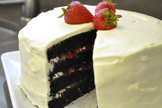 The Ginger Snap Girl Sweet Melissa S Chocolate Layer Cake With Fresh Strawberries And Whipped Cream