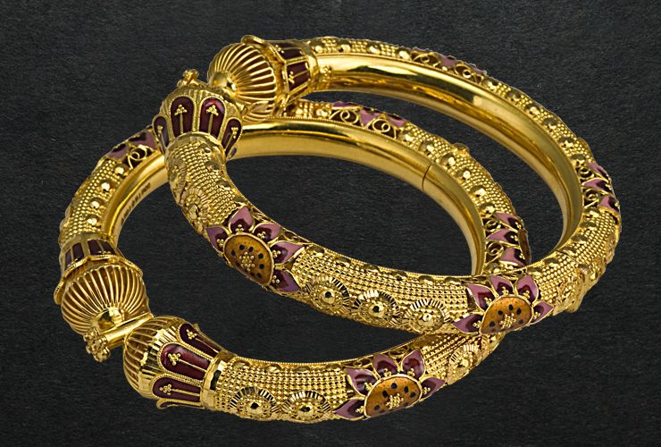 P C Chandra Jewellers Purple And Gold Bangles Wedding Jewelry Gold Jewelry Earrings Jewelry