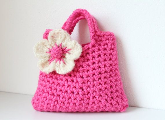 Little Girl Little Flower Purse In Bright Pink Baby Girl Gift