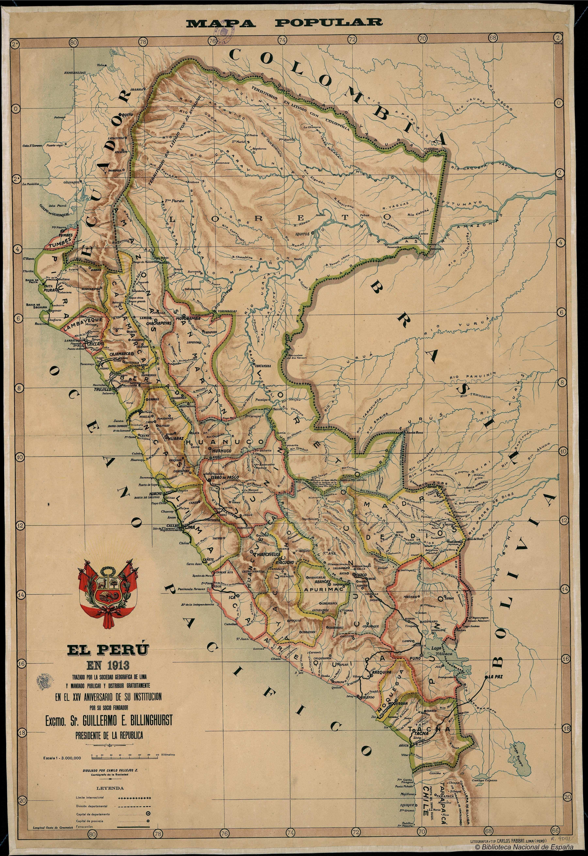 El Peru En 1913 Material Cartografico Impreso 1913 Mapas Antiguos Mapas Mapas Clasicos