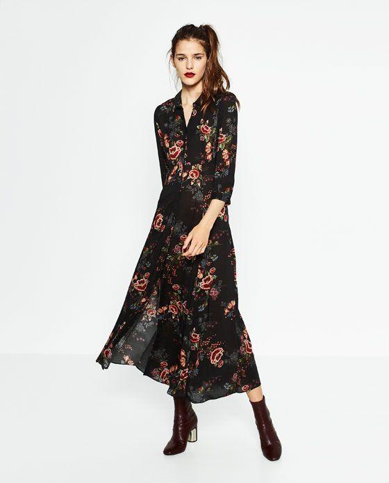 Image 5 Of Long Printed Dress From Zara Kadin Giyim Kadin Uzun Elbise