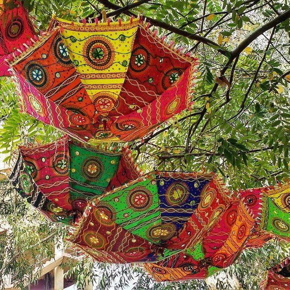 20 Pcs Lot Indian Wedding Umbrella Decoration Mirror Work Vintage Parasols Handmade embroidery Umbrella Decorations Cotton Umbrella