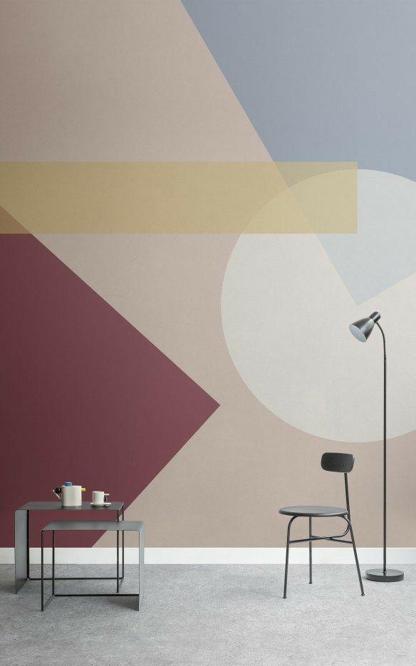 Pittura muraria con forme geometriche | Parete murale ...