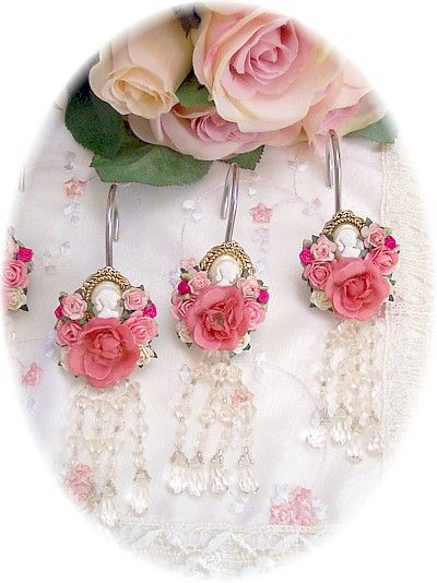 Decorative Cameo Shower Curtain Hooks