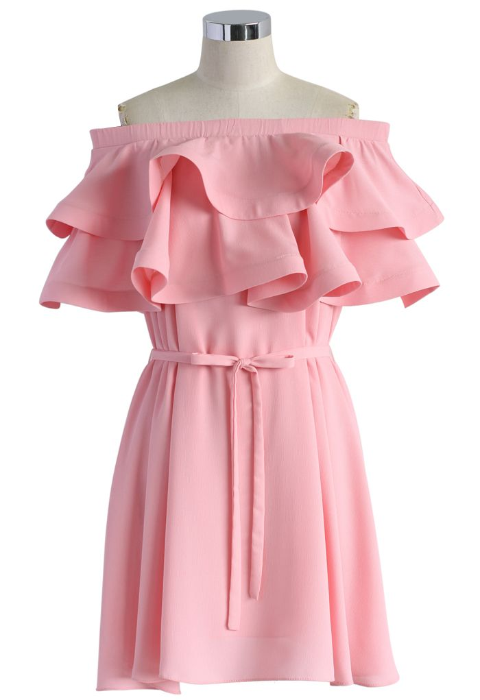 Darling Ruffled Off-shoulder Dress in Candy Pink - New Arrivals - Retro, Indie and Unique Fashion