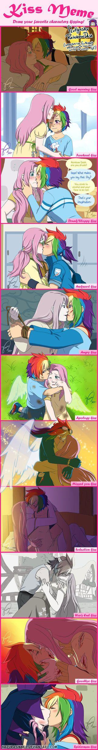 different kisses | Mlp pony, Kiss meme