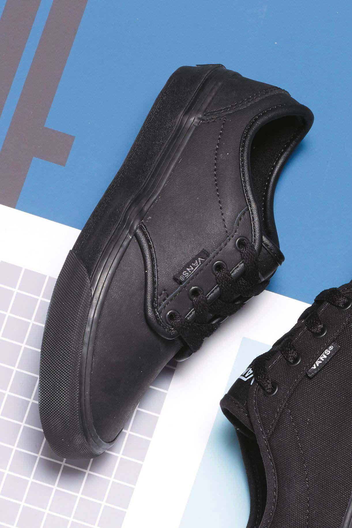 vans junior atwood leather trainer black