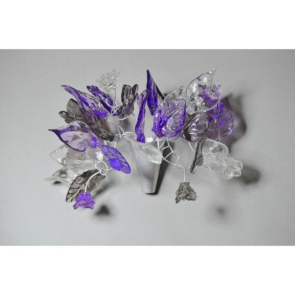 Wall Sconce Light Bouquet Flowers and Leaves at Purple Gray and Clear... ($79) ❤ liked on Polyvore featuring home, lighting, wall lights, black, home & living, night lights, black wall sconce, purple light, wall-mount light and wall sconces