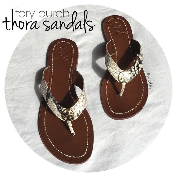 "TORY BURCH thora 2 sandals NEW in box, never worn. roccia python print with beautiful gold hardware. received as a gift a few months ago, but are too small for my normal 5.5 size. original box and gift wrap bag included.  size- 5  due to lighting- color of actual item may vary slightly from photos  please don't hesitate to ask questions, happy POSHing.   -use offer feature to negotiate price on single item. -i do not accept, nor do i respond to ""lowest, trade, or paypal?"" Tory Burch Shoes…"