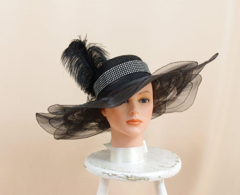 0f55e2c5348 Silver and Black Hat   Kentucky Derby Hat   Rhinestone Hat   Church Hat    Formal Hat   Fashion Hat   Black Floppy Hat   Wide Brim Hat by ...