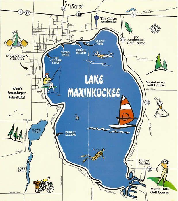Maxinkuckee Lake Fishing Map