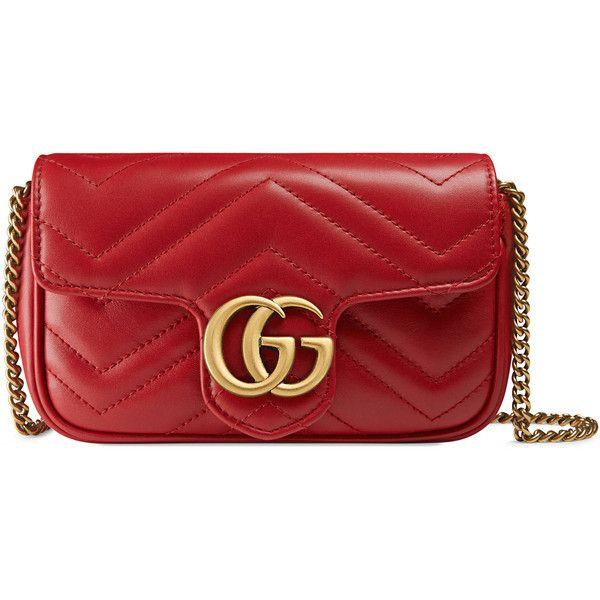 Gucci Gg Marmont Matelassé Leather Super Mini Bag (€815) ❤ liked on Polyvore featuring bags, handbags, shoulder bags, gucci shoulder bag, leather purses, chain strap shoulder bag, red purse and red leather handbags