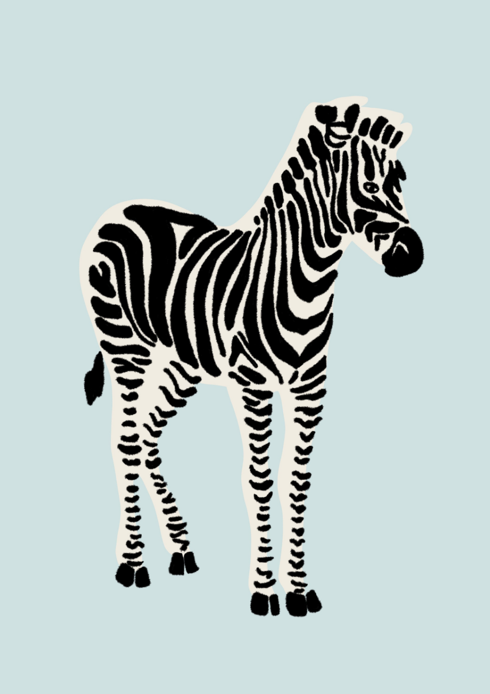 Zebra Illustration Print Modern Zebra Print Zebra Wall Art