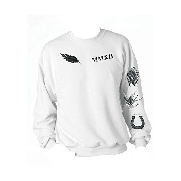 Allntrends Calum Hood Sweatshirt Tattoos 5 Seconds Of Summer (Medium) ($30) ❤ liked on Polyvore featuring tops, hoodies, white top, white hoodies, hoodie top, hooded pullover and summer tops