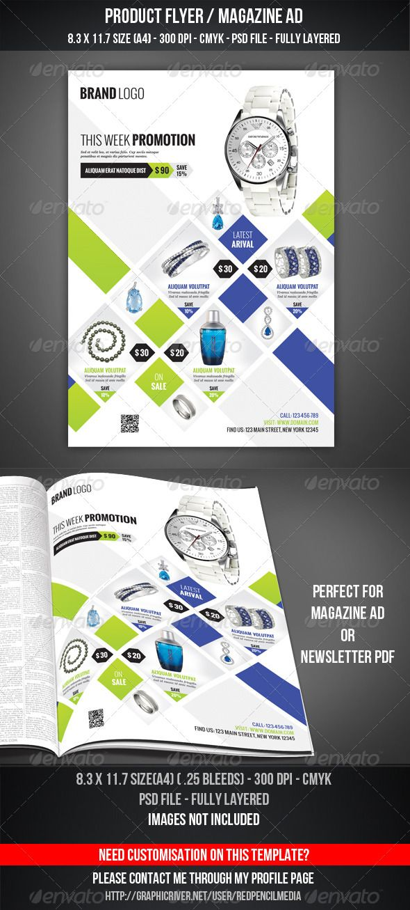 Product Flyer \/ Magazine AD Magazine ads, Layout design and - discount flyer template