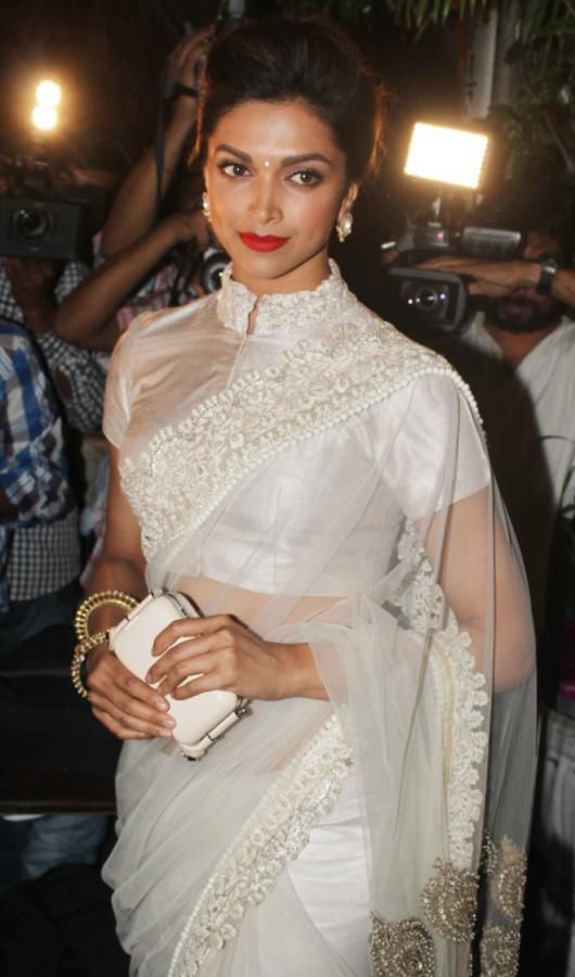 ec6bdd8c7d7 ... blouse designs which you can pick from. Glamorous Deepika Padukone Hot  Photos In White Saree