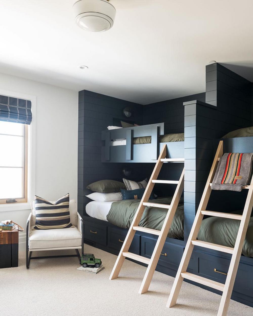 Double beds, great color. | Bedroom setup, Bunk beds built ...