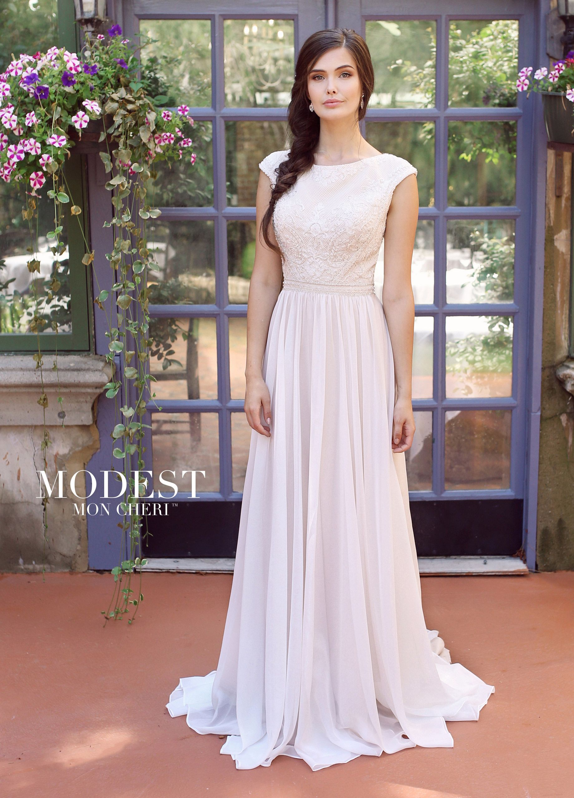 Modest Chiffon u Lace ALine Wedding Dress with Cap Sleeves  Modest