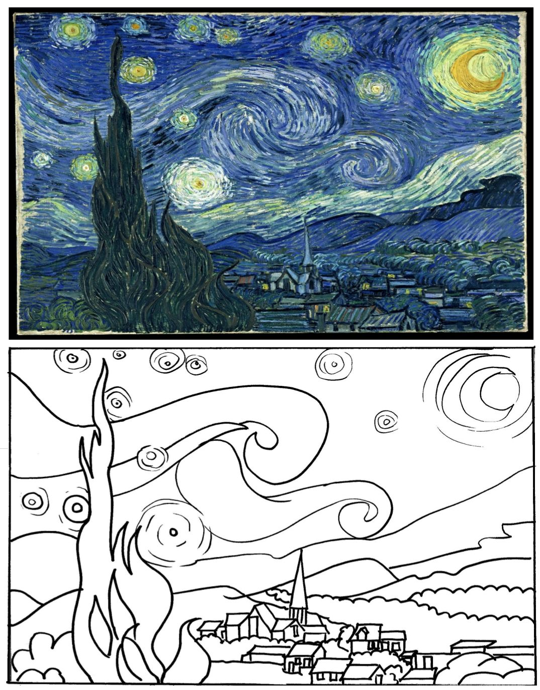 Make It Match Famous Paintings Starry Night Coloring
