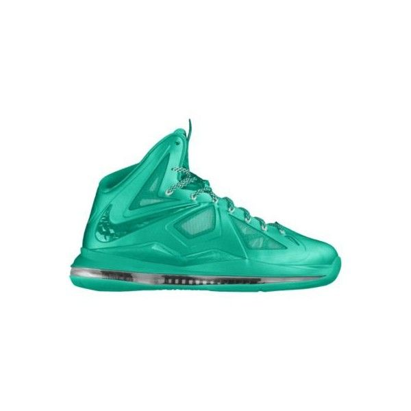 separation shoes 25ead 70d6d Nike LeBron X+ iD Custom Women s Basketball Shoes - Green, 10 ( 240) ❤  liked on Polyvore featuring sneakers, nike and shoes