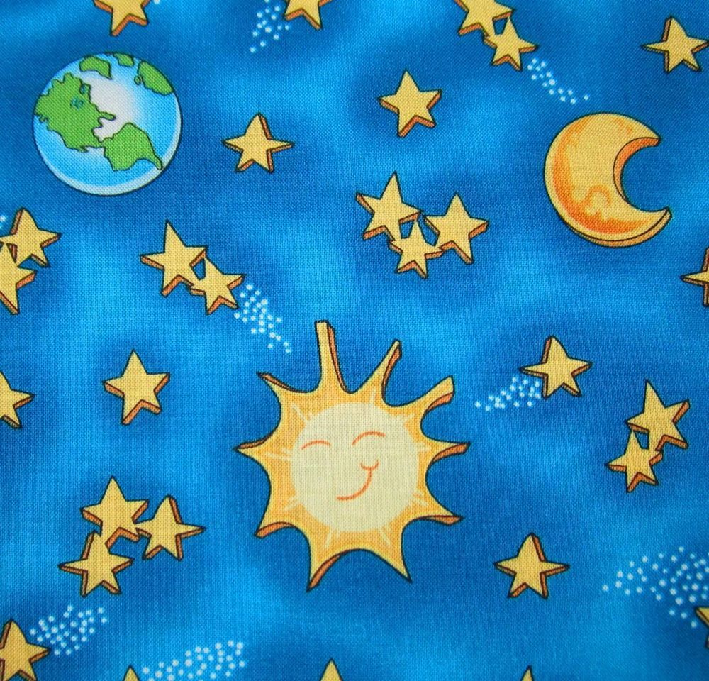 PLANET EARTH SUNSHINES MOONS & STARS on BLUE~FAT 1/4