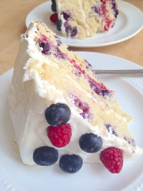 Perfect 4th of July dessert- Sliced Lemon Blueberry Layer Cake with Raspberry Filling #fourthofjuly