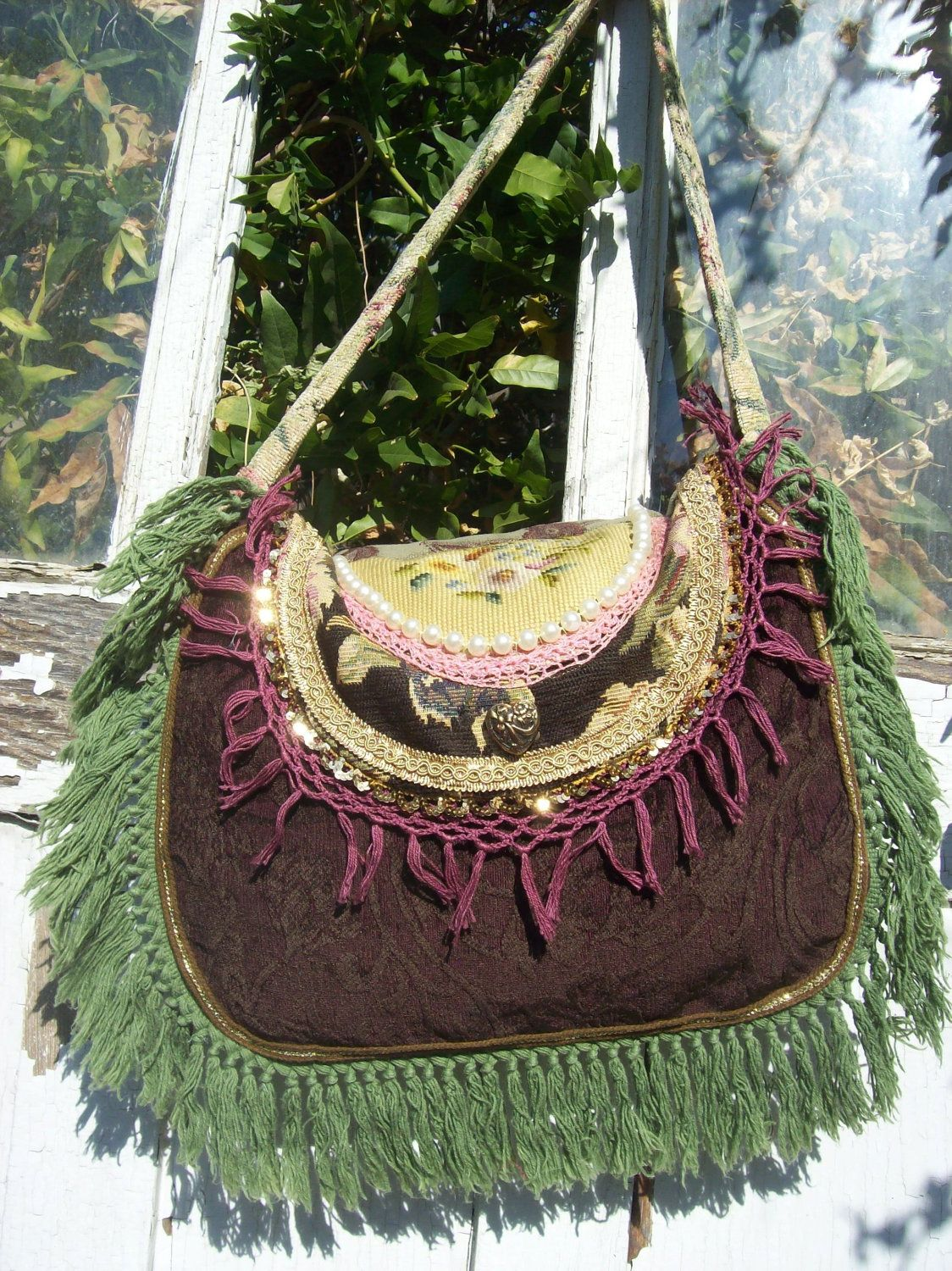 Bohemian Gypsy Hippie Fringed Carpet Bag by Fairybelles on Etsy, $58.00