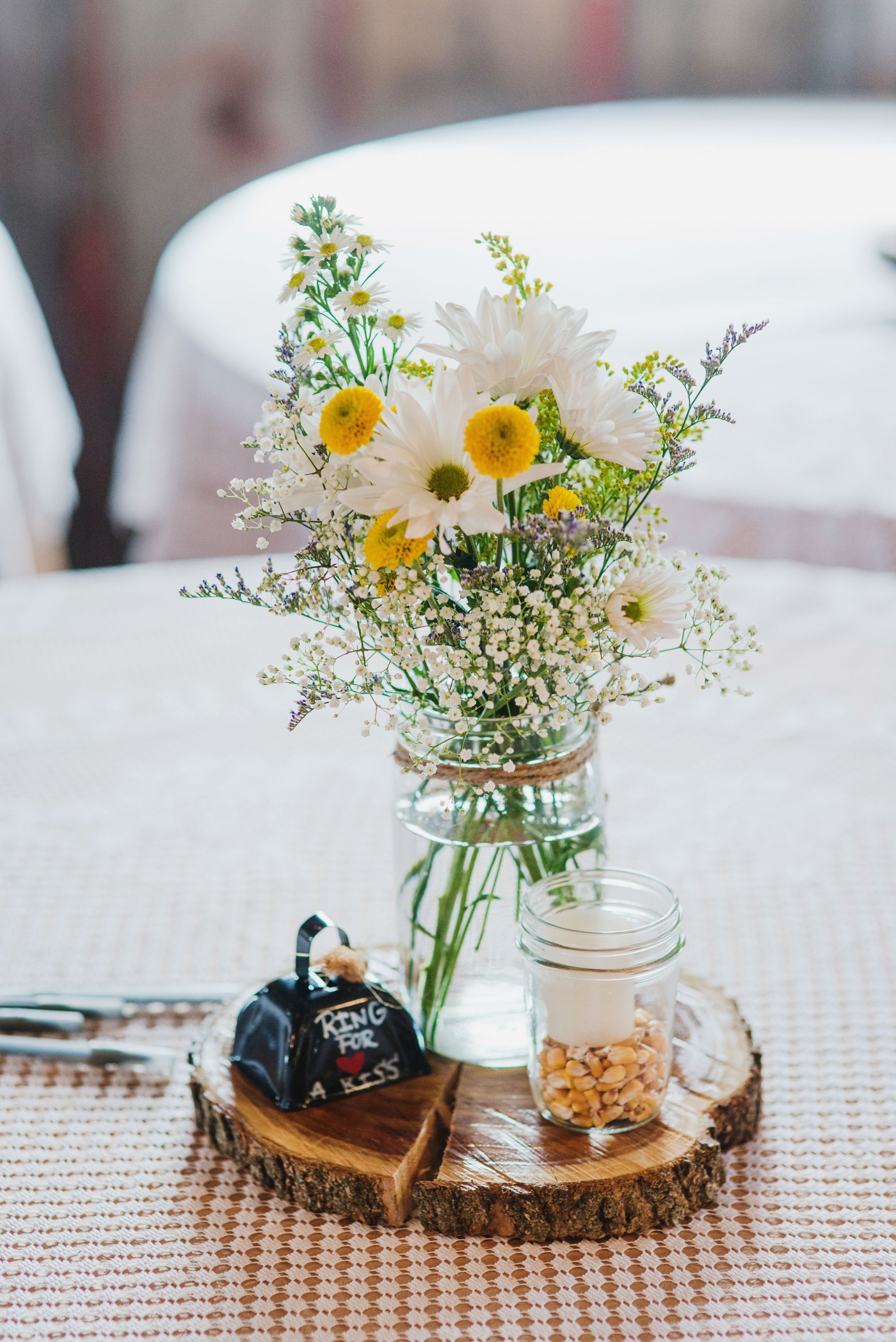 Centerpiece #barn #rustic #wedding #farming #cowbell | Our Barn ...