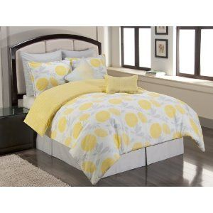 Yellow And Gray Flower Comforter 8 Piece Set Reversible 99 No Shipping Cost Comforter Sets Yellow Comforter Full Comforter Sets