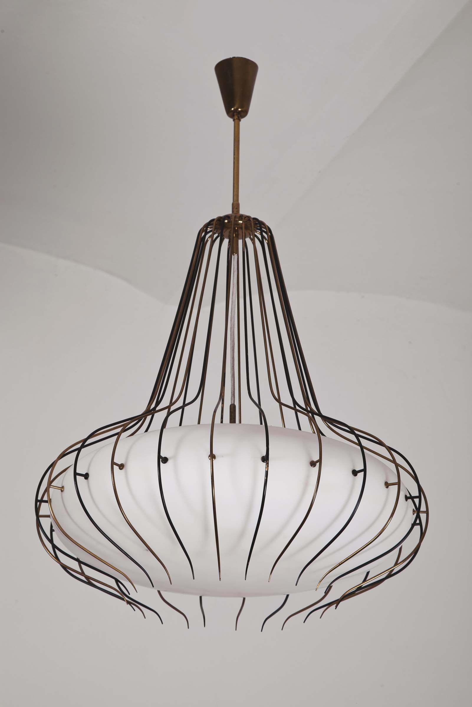 Angelo Lelli; #12699 Brass, Enamel and Glass Ceiling Light for ...