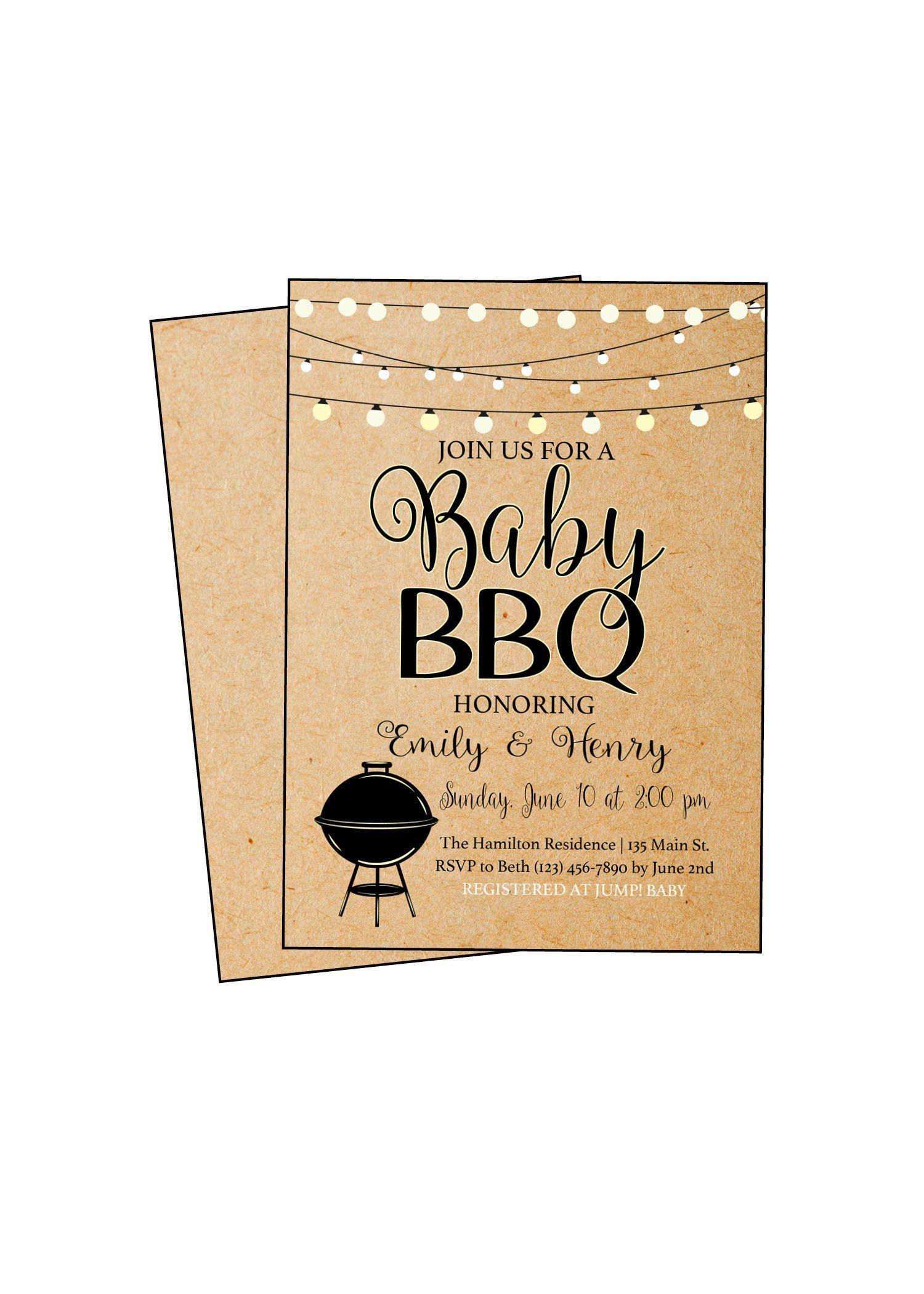 Baby Bbq Invitation Shower Invite Barbeque