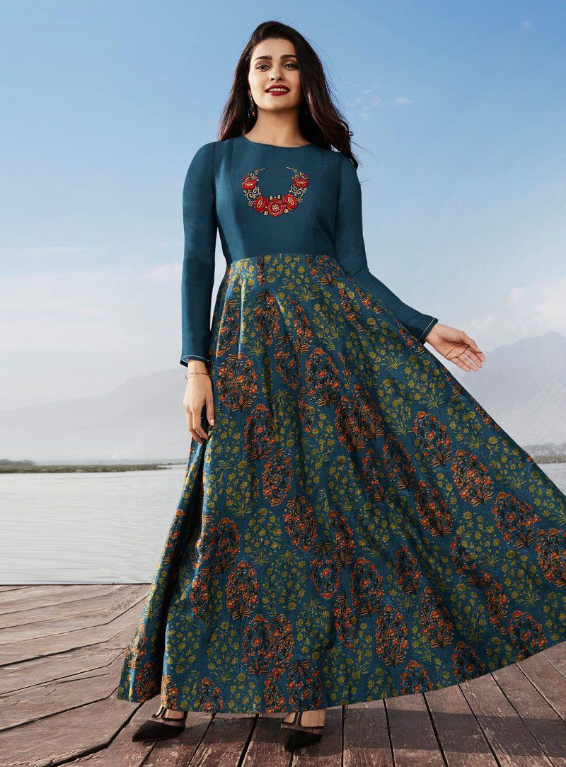 Shop prachi desai blue georgette long kurti online at best