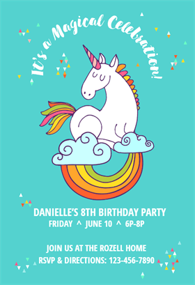 unicorn magic printable invitation template customize add text