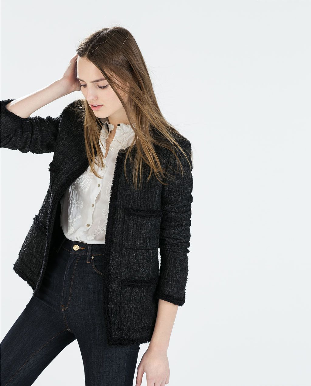 ZARA - WOMAN - STRUCTURED WOVEN JACKET WITH POCKETS