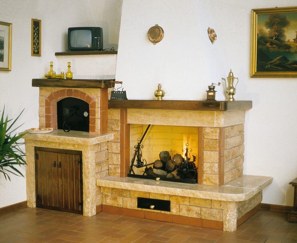 Forno A Legna Con Camino caminetto con forno realizzato in bozzette bugnate di