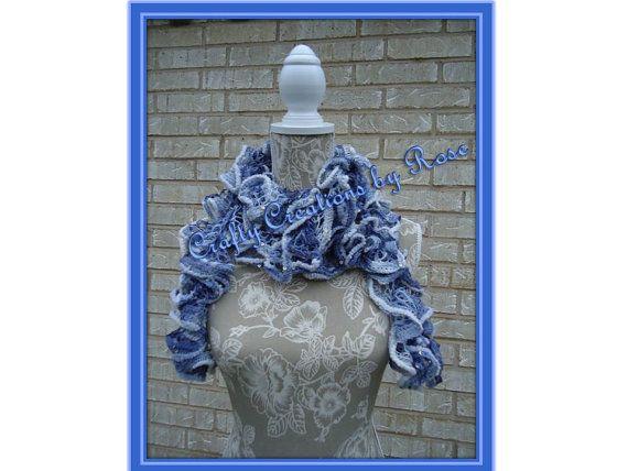 Handmade Crocheted Fashion Ruffle Scarf Denim