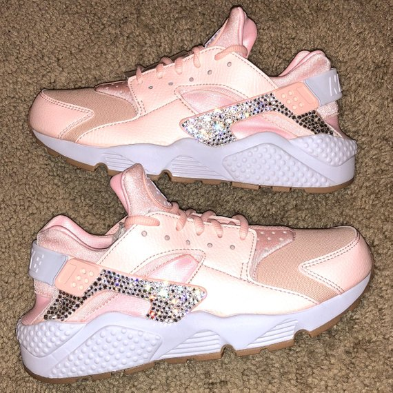 crystal Nike Huarache Bling Shoes with Swarovski Crystals Women s Running  Shoes Sunset Tint 31a1286bec
