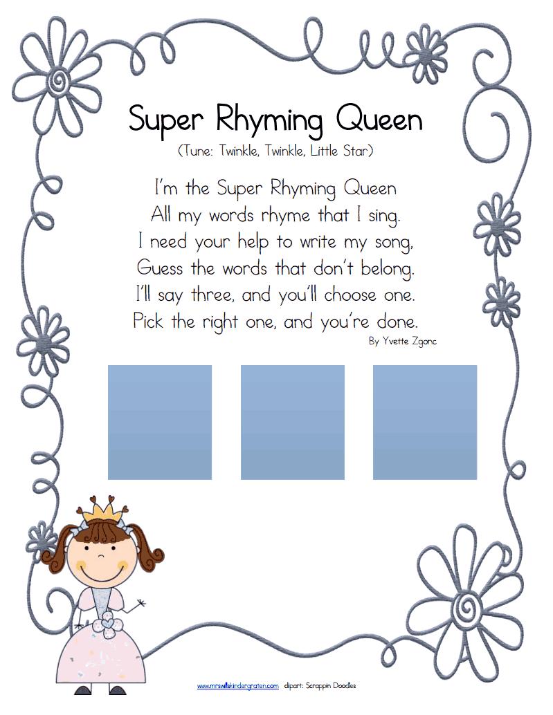 super rhyming queen.pdf - Google Drive | rhyming activities | Pinterest