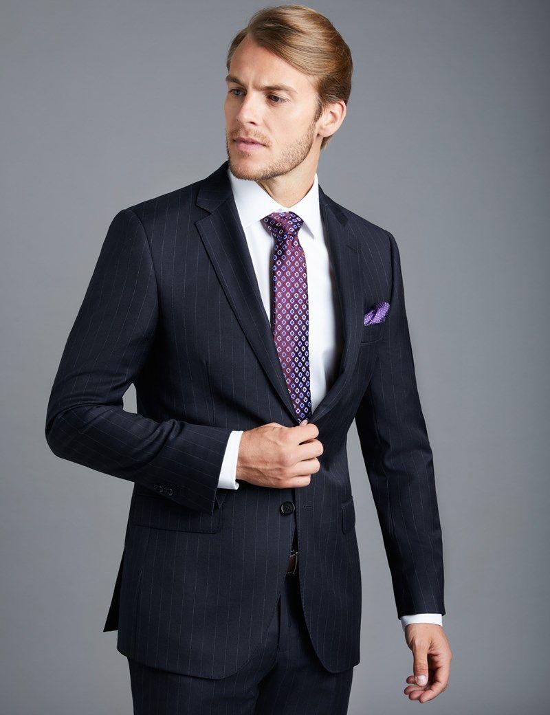 Men s Navy Chalk Stripe Slim Fit Suit Jacket  55c176d093
