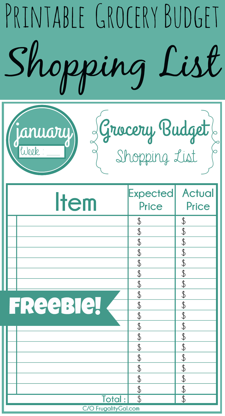 free monthly/weekly printable grocery list. use this to keep track