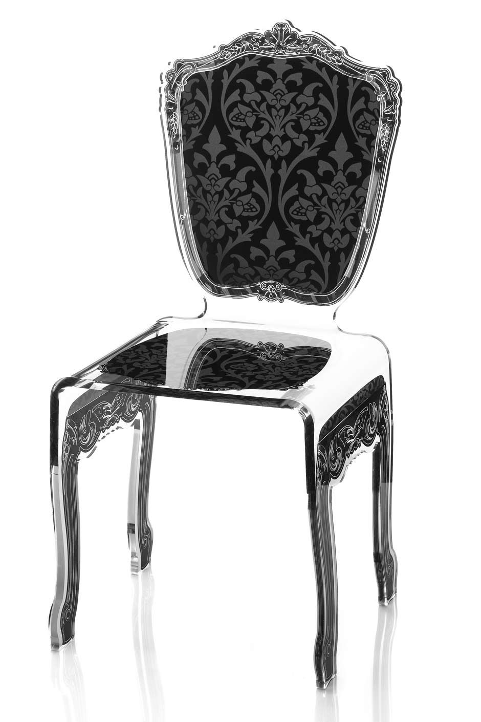 Chaise plexiglas transparent baroque motif noir - Chaise baroque transparente ...