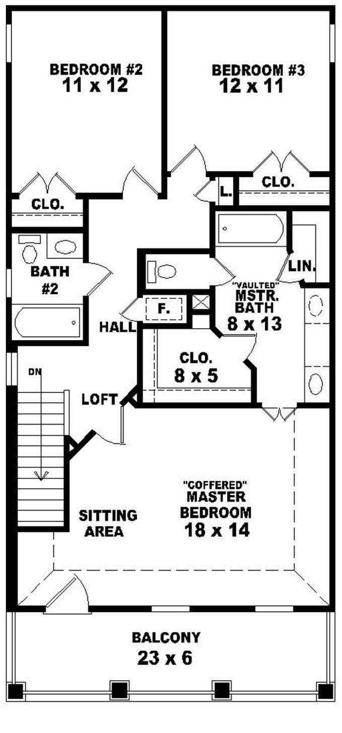 653584 2 story traditional plan perfect for a narrow for One story house plans for narrow lots