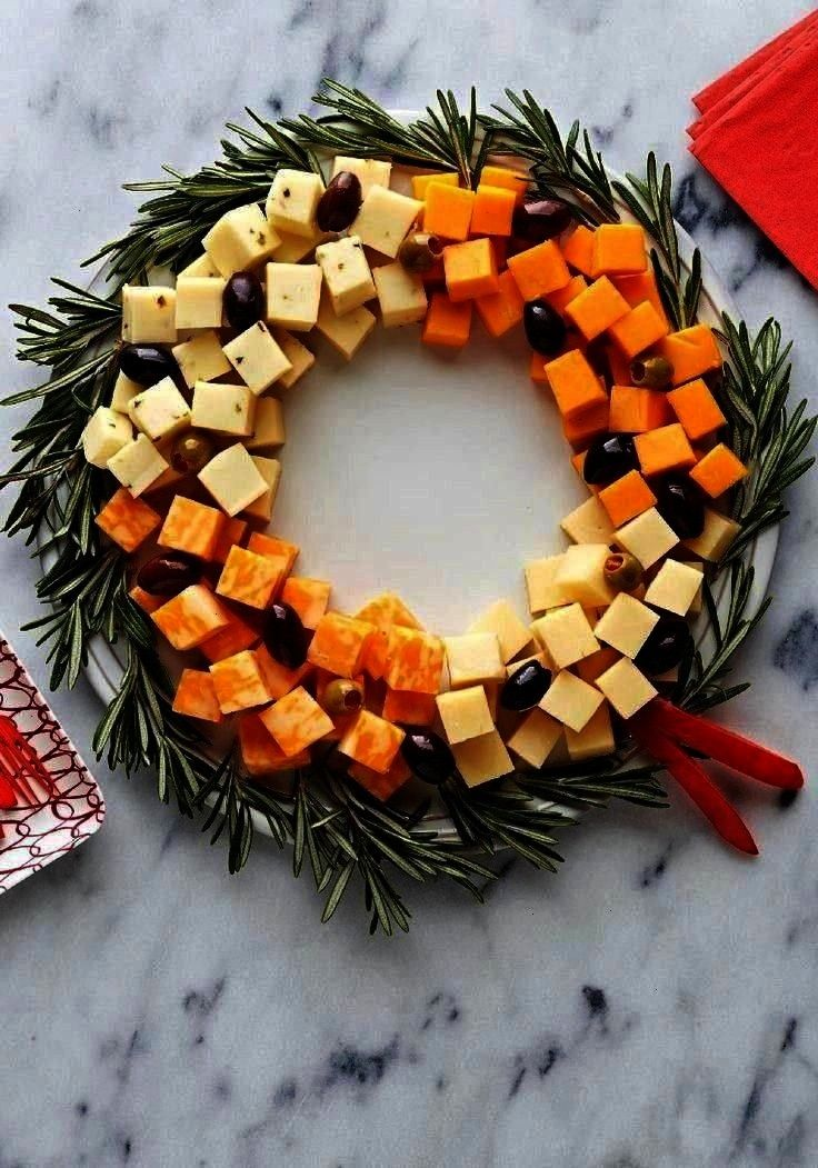 a variety of delicious, creamy cheese cubes in a ..., ... Easy Cheese Wreath — Arrange a variety