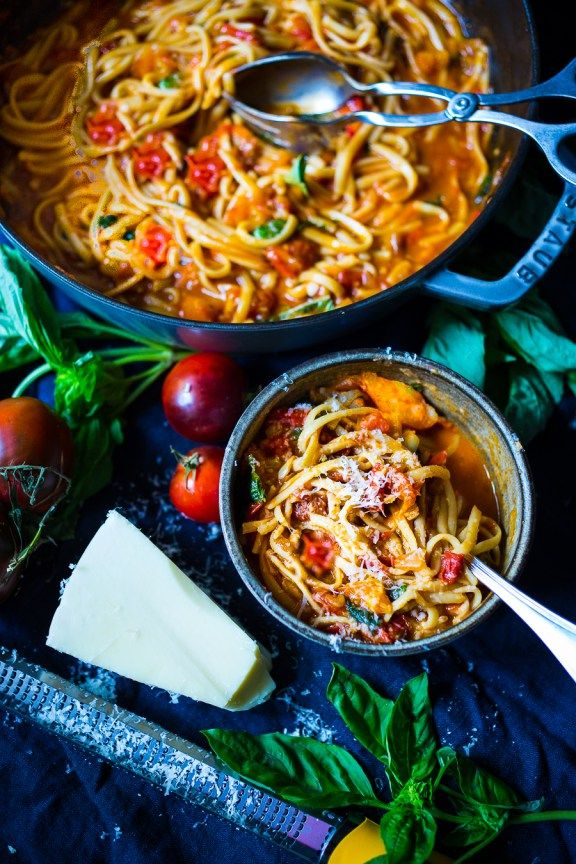 Feasting at Home  Spaghetti with Fresh Tomato Sauce and Basil - quick, flavorful and healthy. Can be made in 20 mins flat!