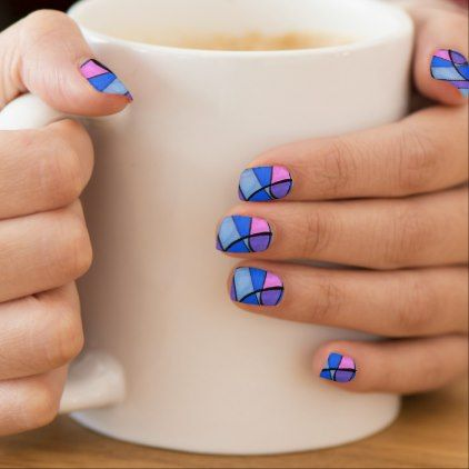 Multi-colored abstract featuring soft curves minx nail art | Zazzle.com