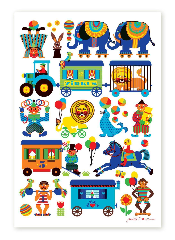 byGraziela KinderzimmerPoster Zirkus 50 x 70 cm Retro